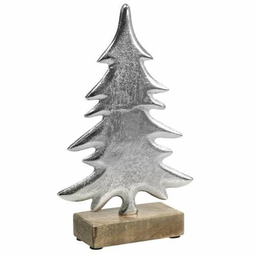 Deko-Tanne auf Holzfuß Silbern, Natur Metall 24cm × 16cm