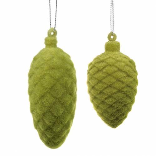 Deko-Zapfen beflockt Moosgrün 9,5cm/8cm 12St