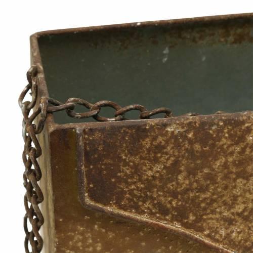 Pflanzgefäß Tasche mit Kette Metall Grau / Rost H21cm