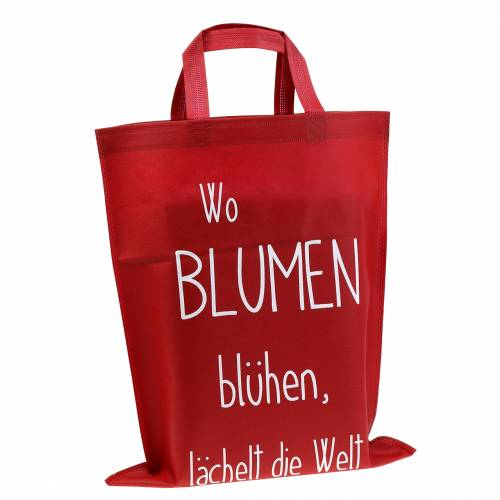 """Tragetasche Rot """"Wo Blumen blühen..."""" 38cm x 46cm 24St"""