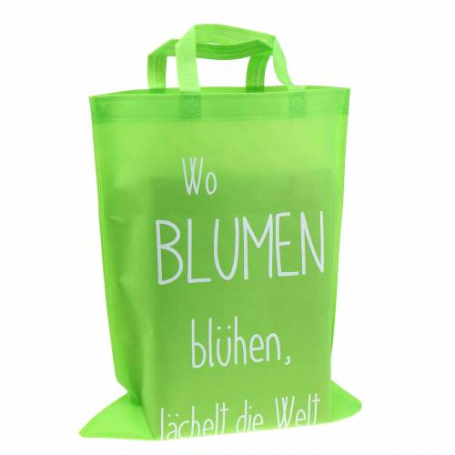 """Tragetasche Grün """"Wo Blumen blühen..."""" 38cm x 46cm 24St"""