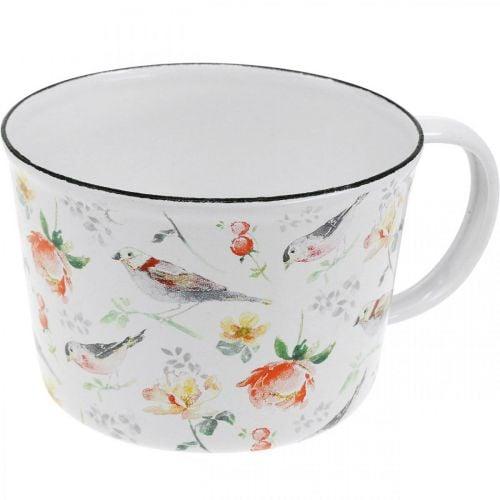 Pflanztasse Vögel / Blumen, Übertopf, Deko-Tasse aus Emaille, Pflanzgefäß