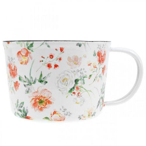 Pflanztasse aus Emaille, Deko-Tasse mit Rosendekor, Übertopf Ø10cm H7cm