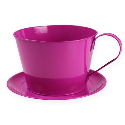 Tasse mit Teller Pink Ø20cm H14cm 2St.