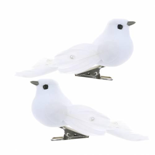 Taube mit Perlen und Clip Weiß H4,5cm 12St