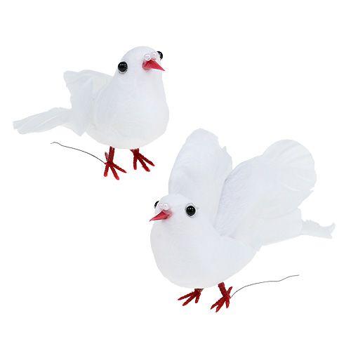 Tauben 5cm am Draht Weiß 8St