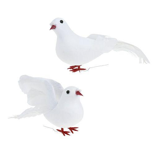Taubenpaar 10cm am Draht Weiß 4St