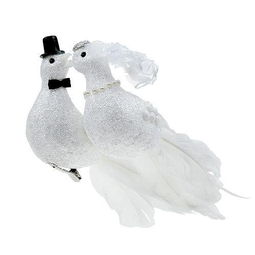 Taubenpaar 22cm am Clip Weiß