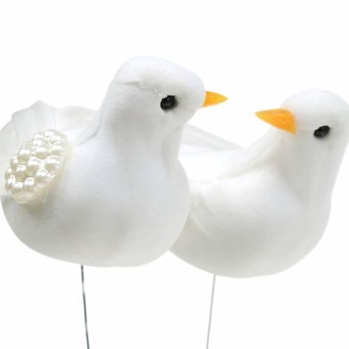 Taubenpärchen am Draht Weiß 4-4,5cm 6Paare