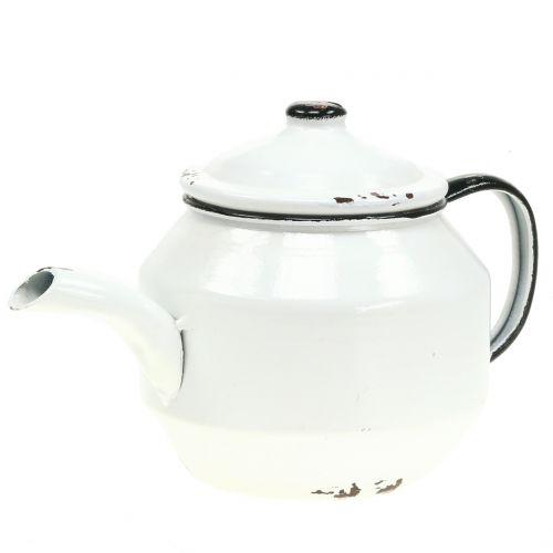 Teekanne aus Metall Vintage Weiß, Schwarz H14cm