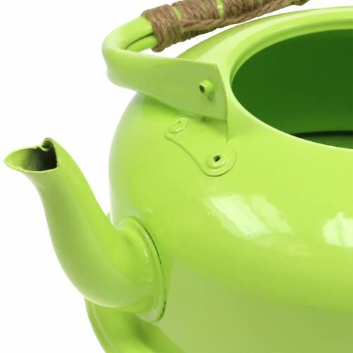 Pflanzgefäß Teekessel Zink Maigrün Ø26cm H15cm