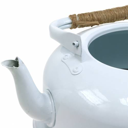 Pflanzgefäß Teekessel Zink Weiß Ø26cm H15cm