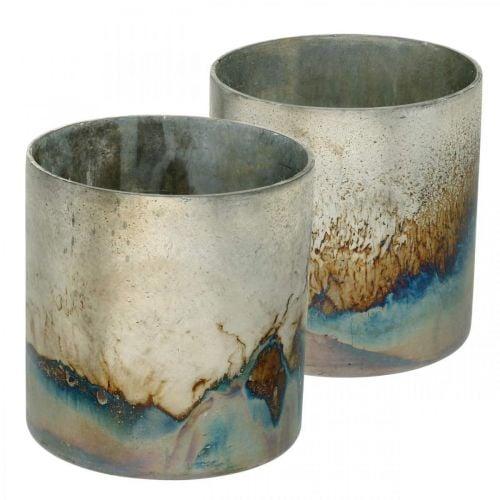 Teelichtglas, Kerzenhalter, Glas-Windlicht Antik-Look Ø10cm H10,5cm 2St