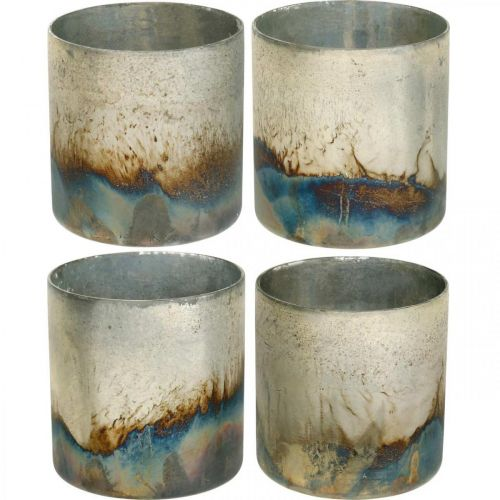 Kerzenglas, Deko-Windlicht, Tischdeko Antik-Look Ø9,5cm H10cm 4St