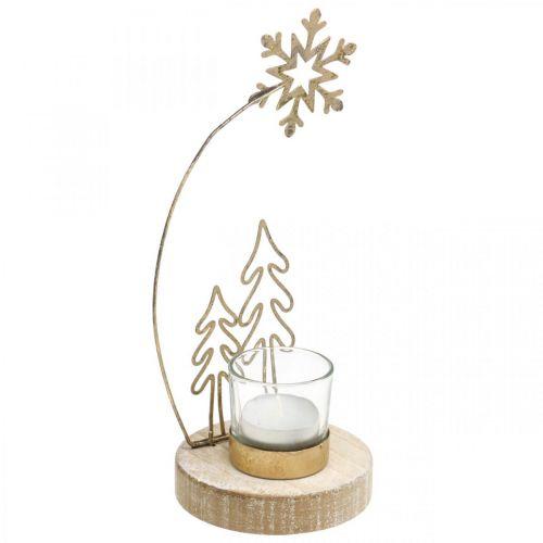 Teelichthalter Tannen und Schneeflocke Metall Ø10cm H24cm