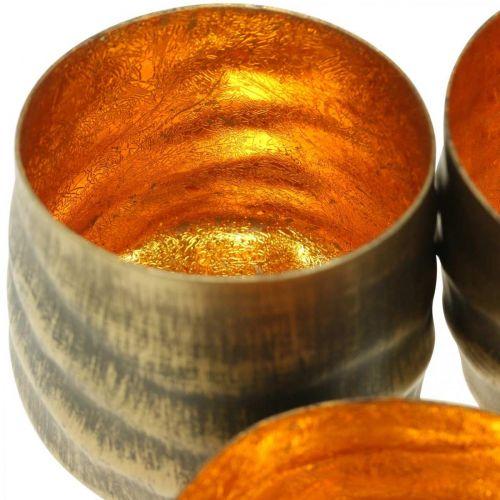 Teelichthalter rund Metall Bronze, Gold Ø6,5-8,5cm 4er-Set