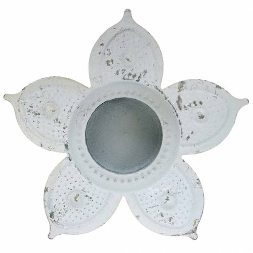 Teelichthalter Blüte zum Stecken Antik Creme Ø12,5cm H15,5cm
