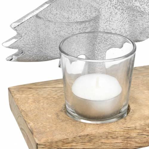Teelichthalter Tannen Mango, Metall Silbern 38×34cm 4 Teelichtgläser