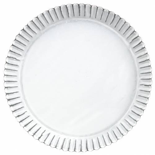 Dekoteller Backform Zink Weiß Ø19,5cm H2cm