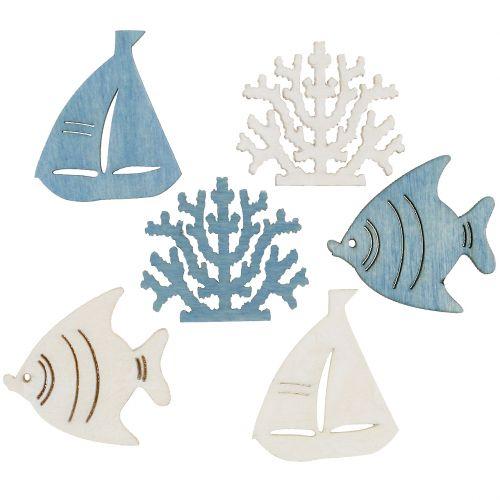 Tischdeko Fisch, Koralle, Boot Hellblau-Weiß 72St
