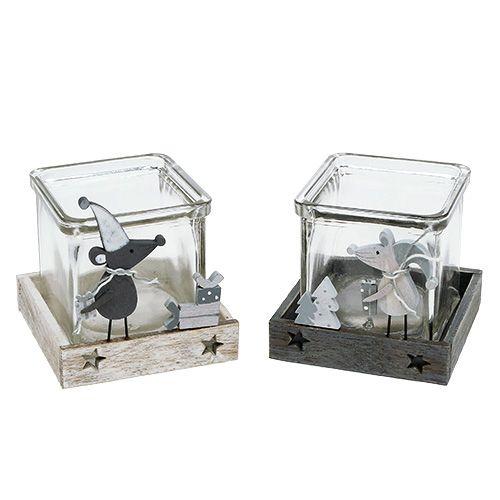 Tischdeko Glaswürfel mit Schmuck 7cm x 7,5cm 2St