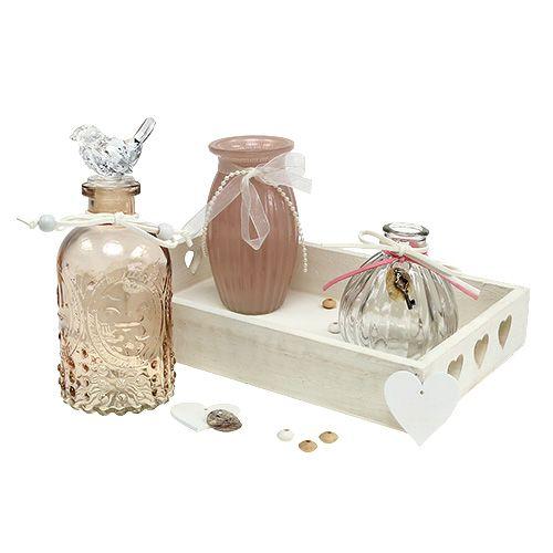 Tischdeko Holztablett Mit Glas Weiss Rosa Preiswert Online Kaufen