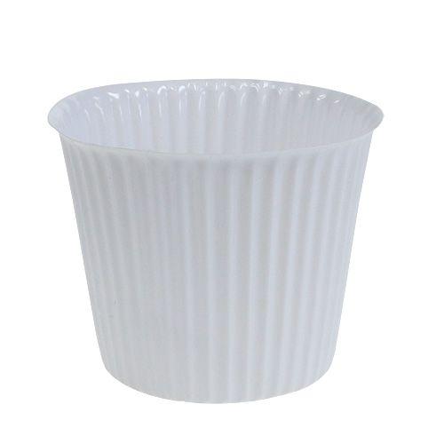 Topf mit Rillen aus Plastik Ø10cm H8cm Weiß 25St