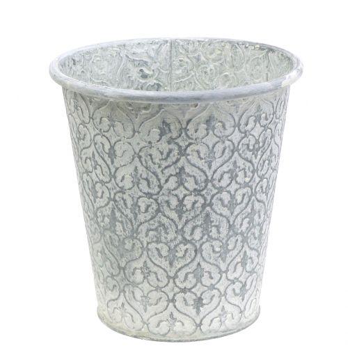 Zinktopf mit Dekor Crème gewaschen Ø19cm H20cm