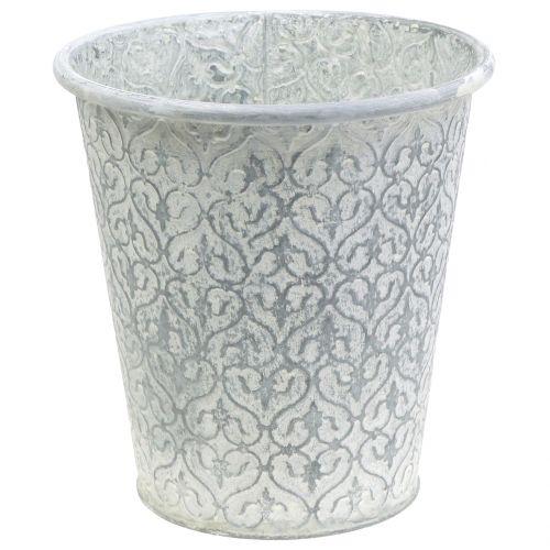 Zinktopf mit Dekor Crème gewaschen Ø24cm H23,5cm