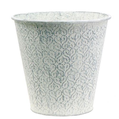 Zinkeimer Weiß gewaschen Ø29cm H28cm
