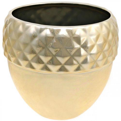 Übertopf Keramik Eichel Golden Weihnachtsdeko Ø18cm H16,5cm