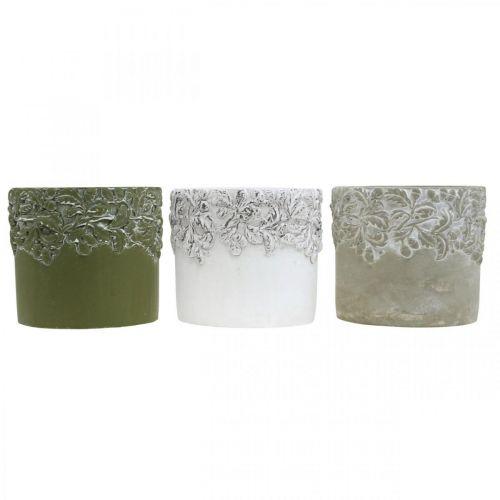 Keramikgefäß, Blumentopf mit Eichen-Dekor, Pflanztopf Grün/Weiß/Grau Ø13cm H11,5cm 3er-Set