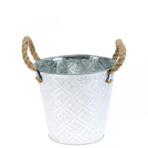 Pflanzgefäß aus Metall, Übertopf mit Blumenmuster, Dekoschale Silbern Ø16,5cm