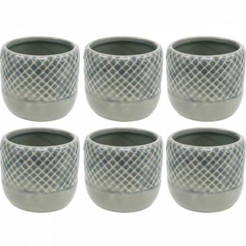 Mini-Übertopf, Keramik-Windlicht, Pflanztopf, Keramikdeko mit Korbmuster Ø8,5cm 6St