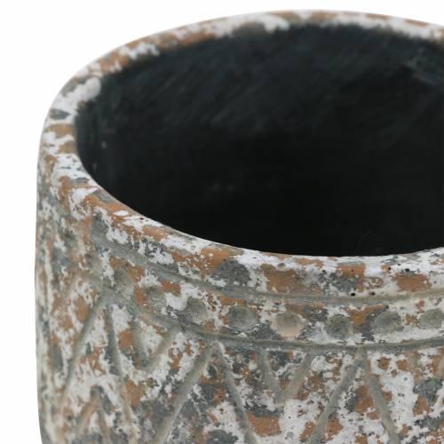 Pflanztopf Übertopf Antik Beton Grau/Weiß Ø11cm H10,5cm 6St