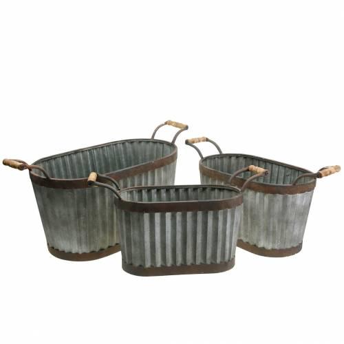 Pflanzgefäß mit Griffen oval Metall 45/50/60cm 3er-Set
