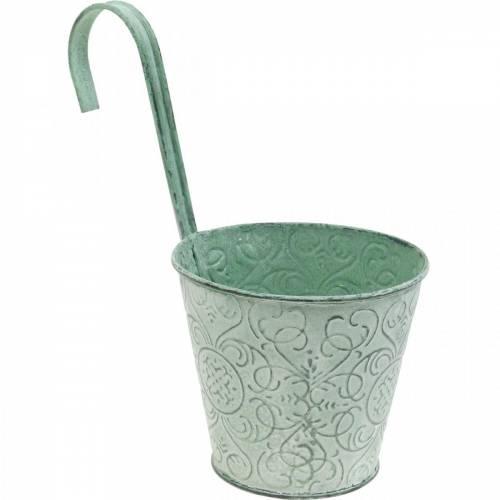 Blumentopf zum Hängen Vintage-Look Pflanztopf Grün Weiß gewaschen Ø11,5cm