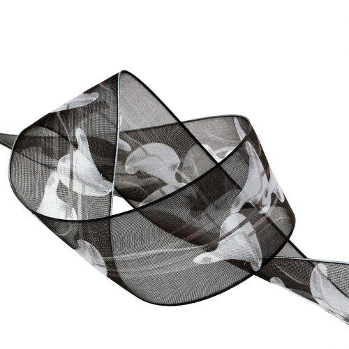 Trauerband Schwarz mit Calla 40mm 15m