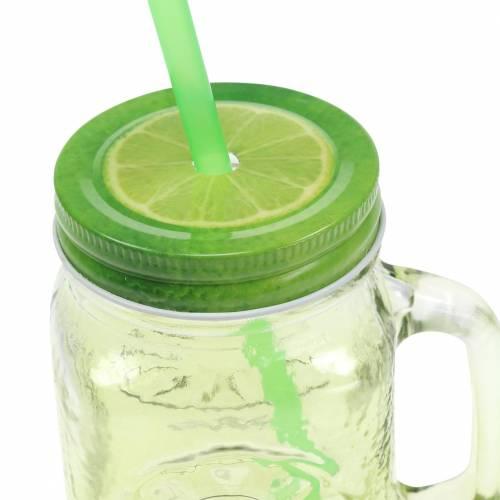 Trinkglas mit Deckel und Strohhalm sortiert Ø7cm H13,5cm 2St