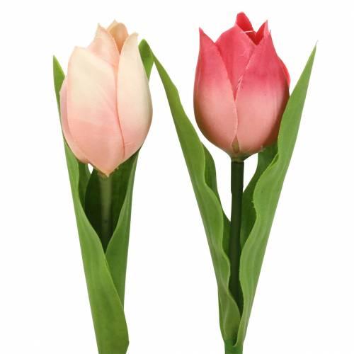 Tulpenmix Kunstblumen Pink Apricot 16cm 12St