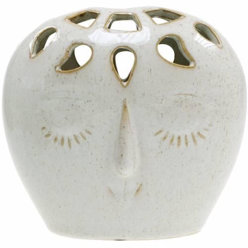 Keramikvase mit Gesicht Creme, Beige H13cm Steingutoptik 1St
