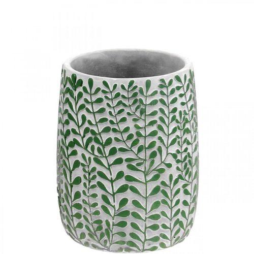 Blumenvase, Keramikdeko Beton-Optik, Vase mit Rankendekor Ø13cm H17cm