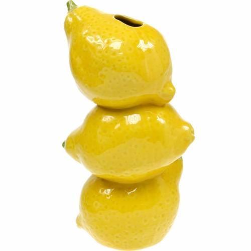 Blumenvase Sommerdeko Dekovase Zitrone Keramik H20cm