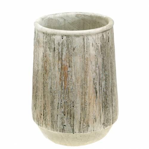 Übertopf Vase Beton Holzdesign Ø15cm