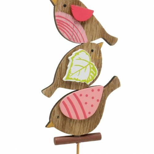 Frühlingsdeko Vögel mit Stab Holz Sortiert H10,5cm 12St