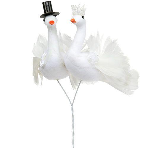 Vogel Brautpaar Weiß 38cm