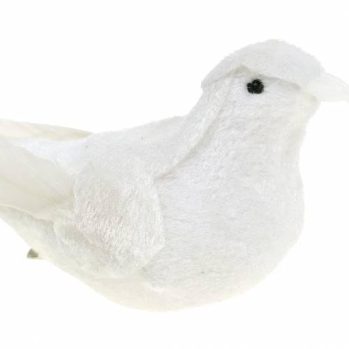 Taube beflockt mit Federn und Clip Weiß 13,5cm 4St