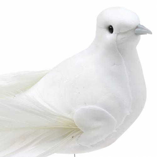 Taube am Draht Weiß 10cm 6St