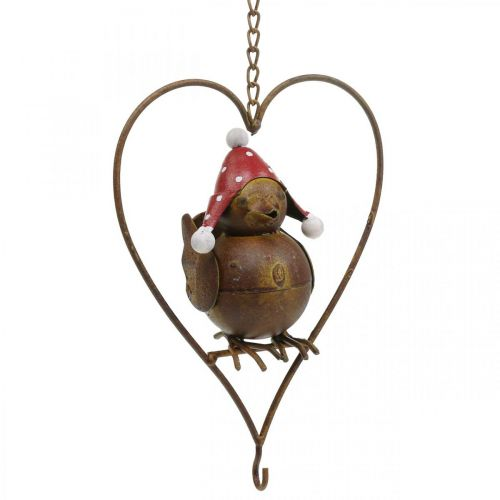 Deko Vogel Metall zum Hängen Gartendeko Rost Rot-Weiß 15×21cm