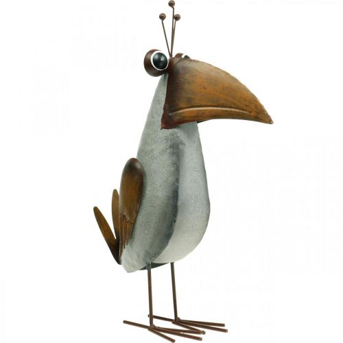 Dekofigur, Vogel aus Metall, Rabe, Metalldeko 43cm